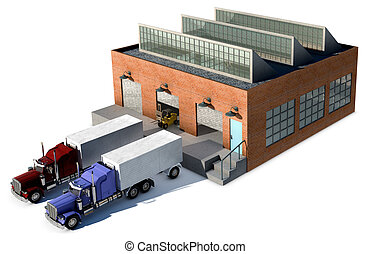 A small factory with a Cargo truck at a loading dock isolated on white