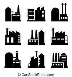 Factory and Power Industrial Building Icon Set 2. Vector