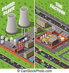 Factory Plant Industrial Isometric vertical Banners