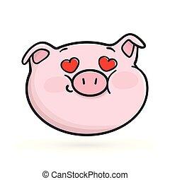 Fall in love emoticon icon. Emoji pig.
