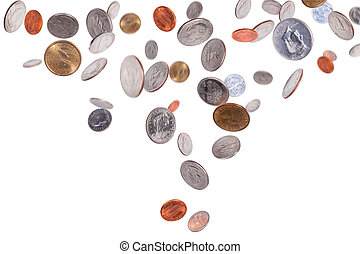 American coins isolated on white background