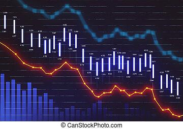 Falling stock exchange statistics hologram on screen.