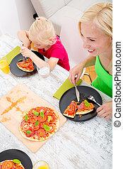Family eating Pizza