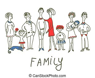 Family event - funny sketch illustration with dog