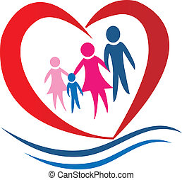 Family heart logo vector