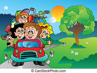 Family in car going on vacation - vector illustration.