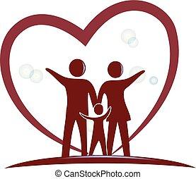 Family love heart symbol logo