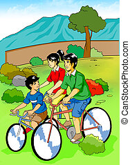 Cartoon illustration of a family cycling in the park