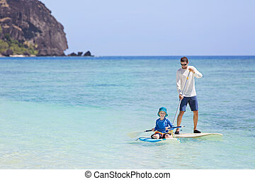 family stand up paddleboarding