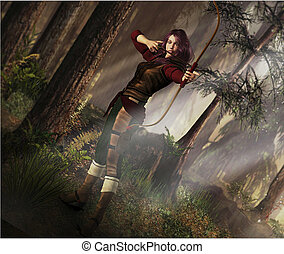 Fantasy scene of female archer taking aim in a wooded landscape.