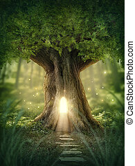Fantasy tree house with light in the forest