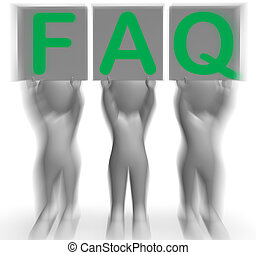 FAQ Placards Showing Frequent Assistance Help And Support