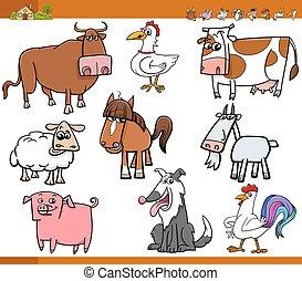 farm animals set cartoon illustrati