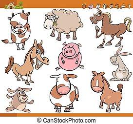 farm animals set cartoon illustration