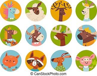 Farm animals vector set of cute cartoon animals faces in flat style