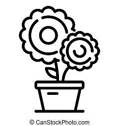 Farm flower pot icon, outline style