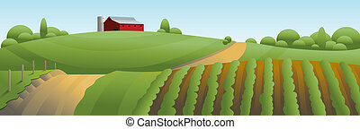 Illustration of an idyllic farm country scene.