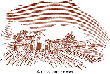 Pen and ink style illustration of a rural farm scene.