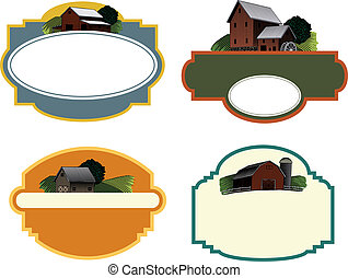 A collection of four labels each featuring a woodcut style illustration of a farm scene.
