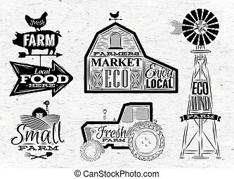 Farm characters in vintage style lettering in tractor barn and the mill and the sign field stylized drawing
