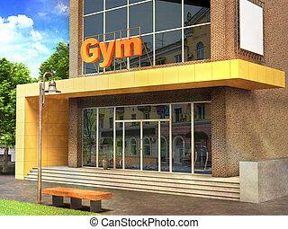 fasad of fitness gym building 3d illustration