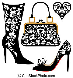 Silhouettes of women shoes and bag with ornaments, collection of fashion and lifestyle objects.