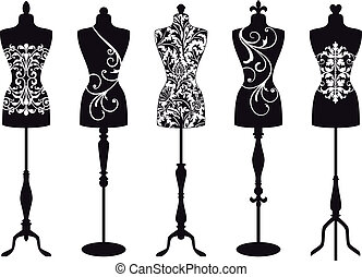 fashion mannequins, vector set