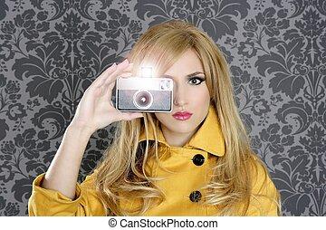fashion photographer retro camera reporter woman