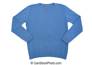 Fashionable clothes. blue man's sweater isolated on white