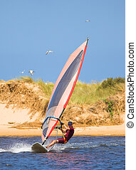 Fast moving windsurfer on the water