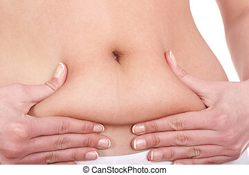 Fat female body part. Isolated.