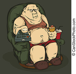 The fat guy is sitting in a chair with remote control in hand. Color the picture.