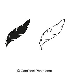 Feather - green vector icon