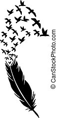 Feather with flying birds vector illustration