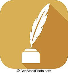 feather with ink flat icon