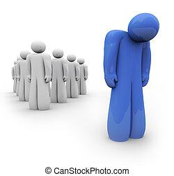 One depressed person stands lonely, apart from the group