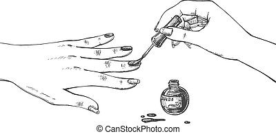 Female hand applying nail polish