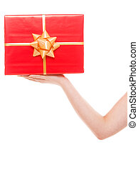 Female hand holding big red gift box isolated