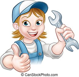 Female Mechanic or Plumber with Spanner