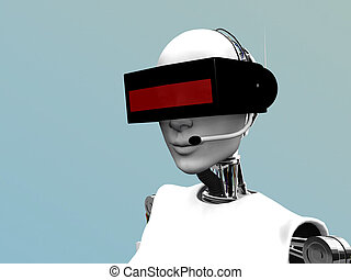 A female robot wearing a futuristic headset.