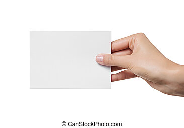 Female teen hand holding blank visiting card, isolated on white