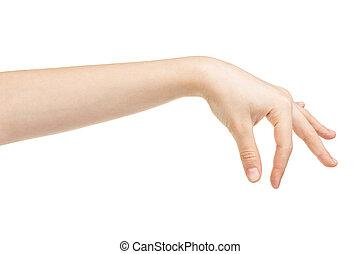 female teen hand holding something