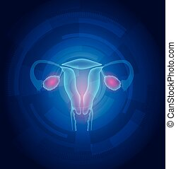 Female uterus abstract blue technology background