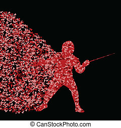 Fencing players active sports silhouette background illustration vector concept made of triangular fragments explosion for poster