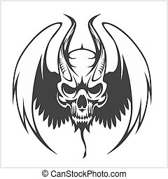 Fierce Gargoyle-Fantasy Winged Beast - isolated on white
