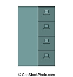 File Cabinet closed. Card index Iron box for documents. Office furniture