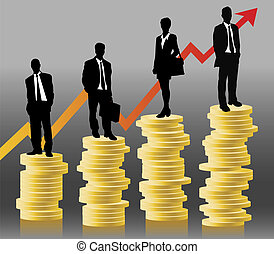 businessteam standing on coins in front of successful chart