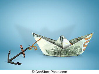 finance concept, ship made of money with anchor, copy space