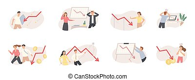 Finance decrease and crisis graph. Falling down business chart arrow, economic budget collapse, market risks and panic people vector set