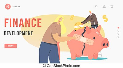 Finance Development Landing Page Template. Economic Recovery. Business People Characters Global Crisis.
